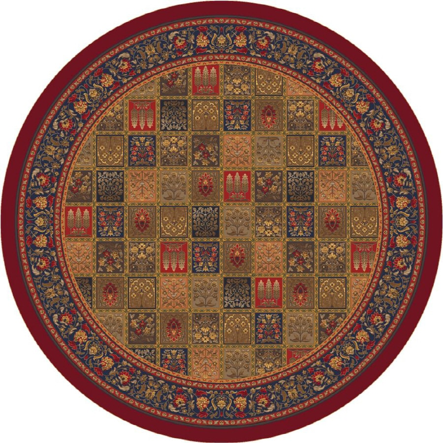 Milliken Pristina Round Red Transitional Tufted Area Rug (Common: 8-ft x 8-ft; Actual: 7.58-ft x 7.58-ft)