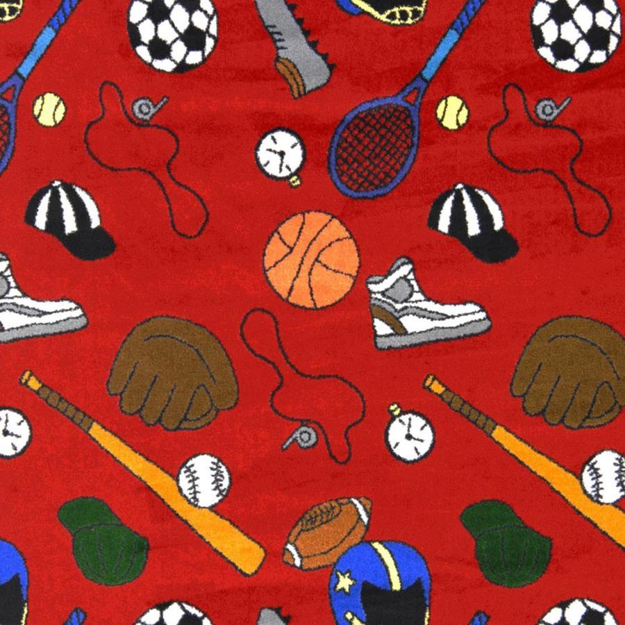 Joy Carpets Sports Fan Red Cut and Loop Indoor Carpet