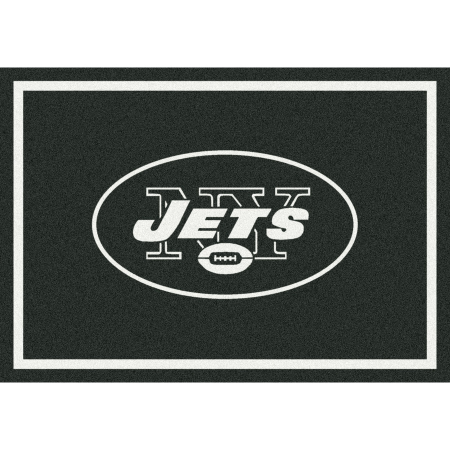 Milliken NFL Spirit Black Rectangular Indoor Tufted Sports Area Rug (Common: 8 x 10; Actual: 92-in W x 129-in L)