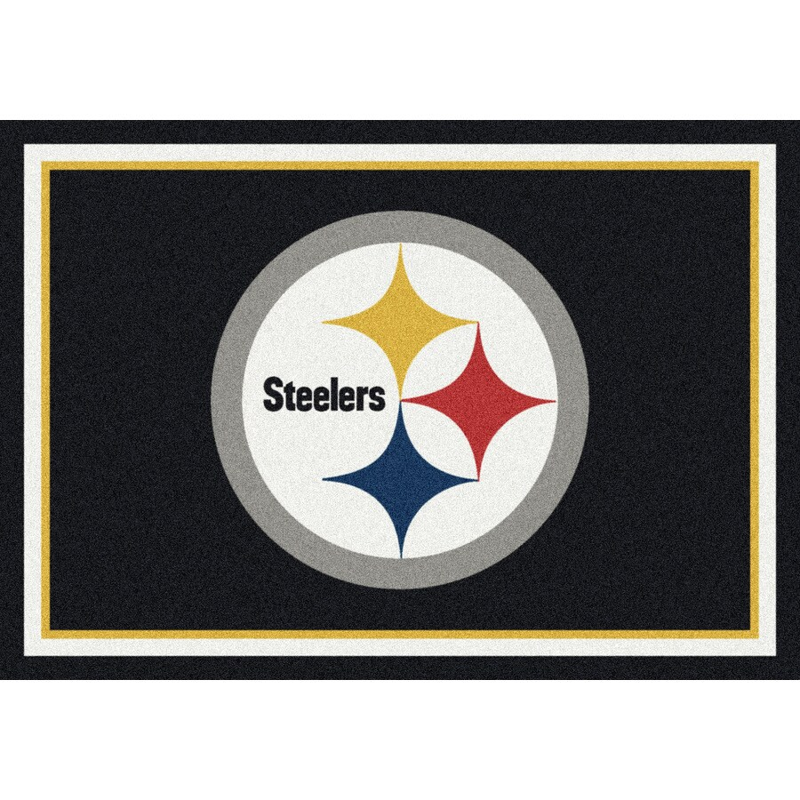 Milliken NFL Spirit Black Rectangular Indoor Tufted Sports Area Rug (Common: 5 x 8; Actual: 64-in W x 92-in L)