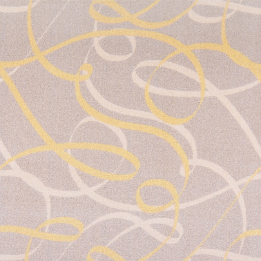 Joy Carpets Playful Patterns Yellow Cut and Loop Indoor Carpet