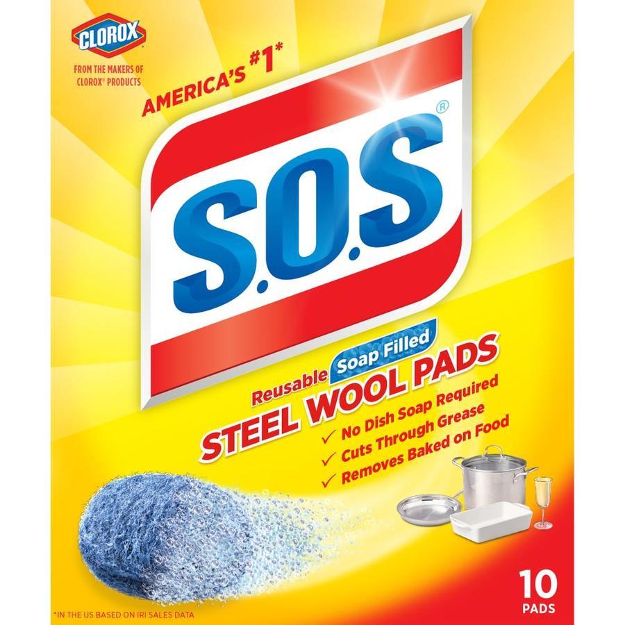SOS 10-Pack Steel Wool Scouring Soap Pad