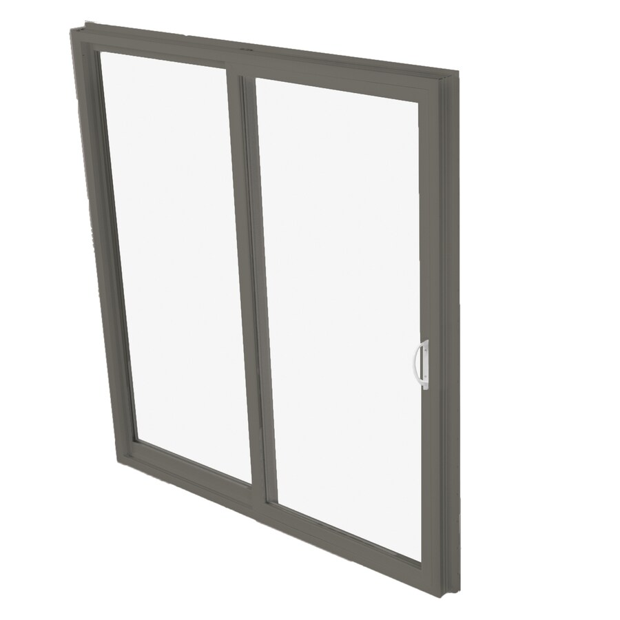 BetterBilt 570 Series 95.5-in Clear Glass Bronze Aluminum Sliding Patio Door with Screen