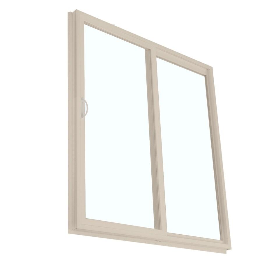BetterBilt 390 Series 59.5-in Clear Glass Driftwood Vinyl Sliding Patio Door with Screen