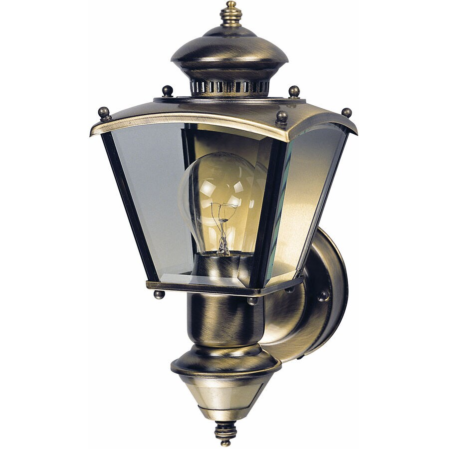 Heath Zenith 16.5-in H Antique Brass Motion Activated Outdoor Wall Light
