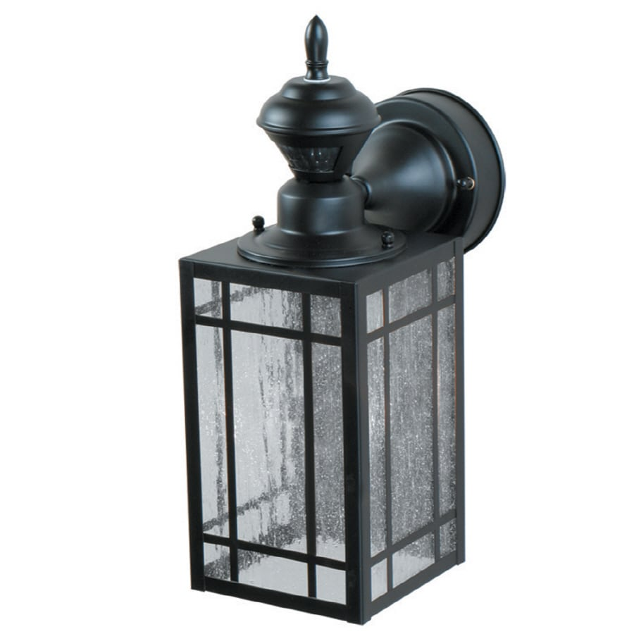shop portfolio black motion activated outdoor wall light at. Black Bedroom Furniture Sets. Home Design Ideas