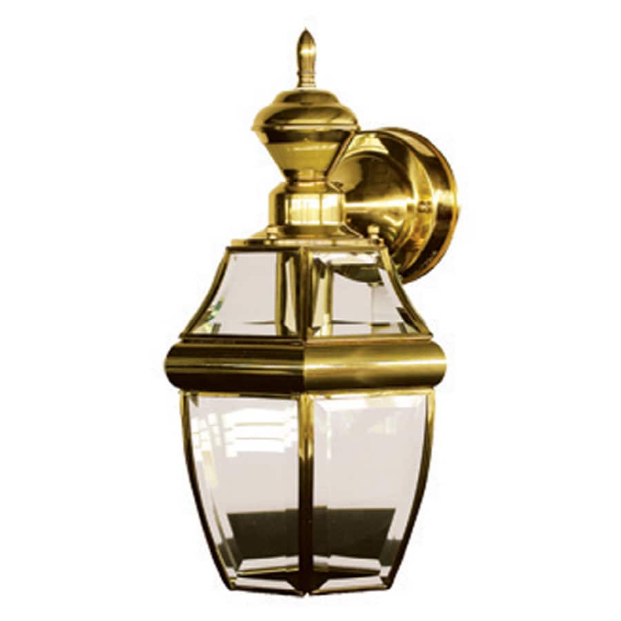Secure Home Hanging Carriage 14.5-in H Polished Brass Motion Activated Outdoor Wall Light