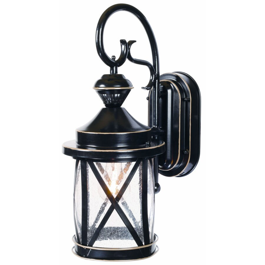Secure Home 18-in H Satin Black Motion Activated Outdoor Wall Light
