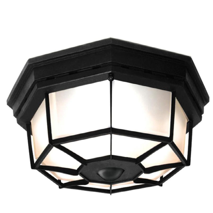 Secure Home 11.9-in W Black Motion Activated Outdoor Flush-Mount Light