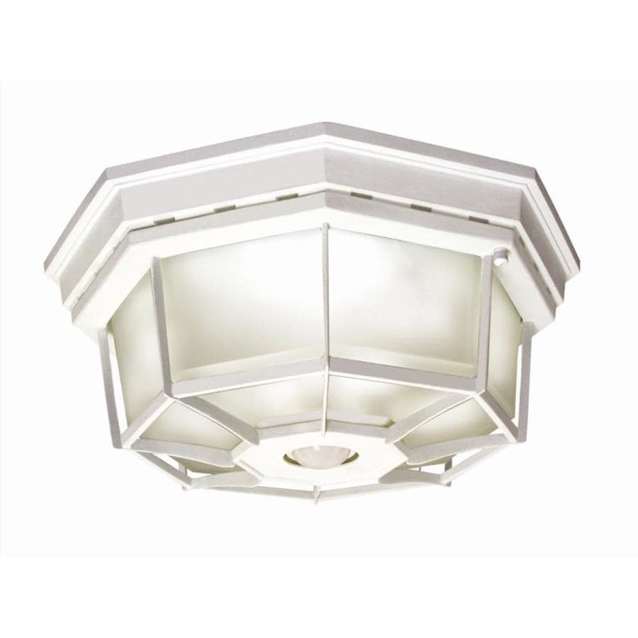 Outdoor Motion Activated Ceiling Light: Shop Secure Home 11.9-in W White Motion Activated Outdoor