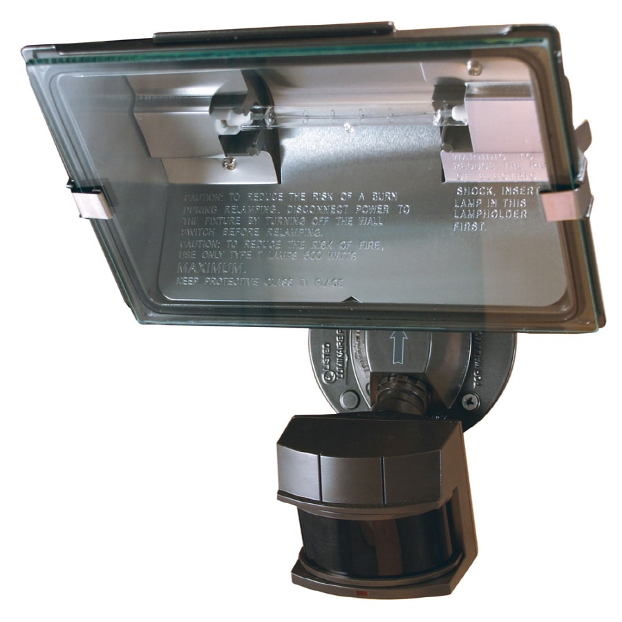 Secure Home 180-Degree 1-Head Bronze Halogen Motion-Activated Flood Light Timer Included