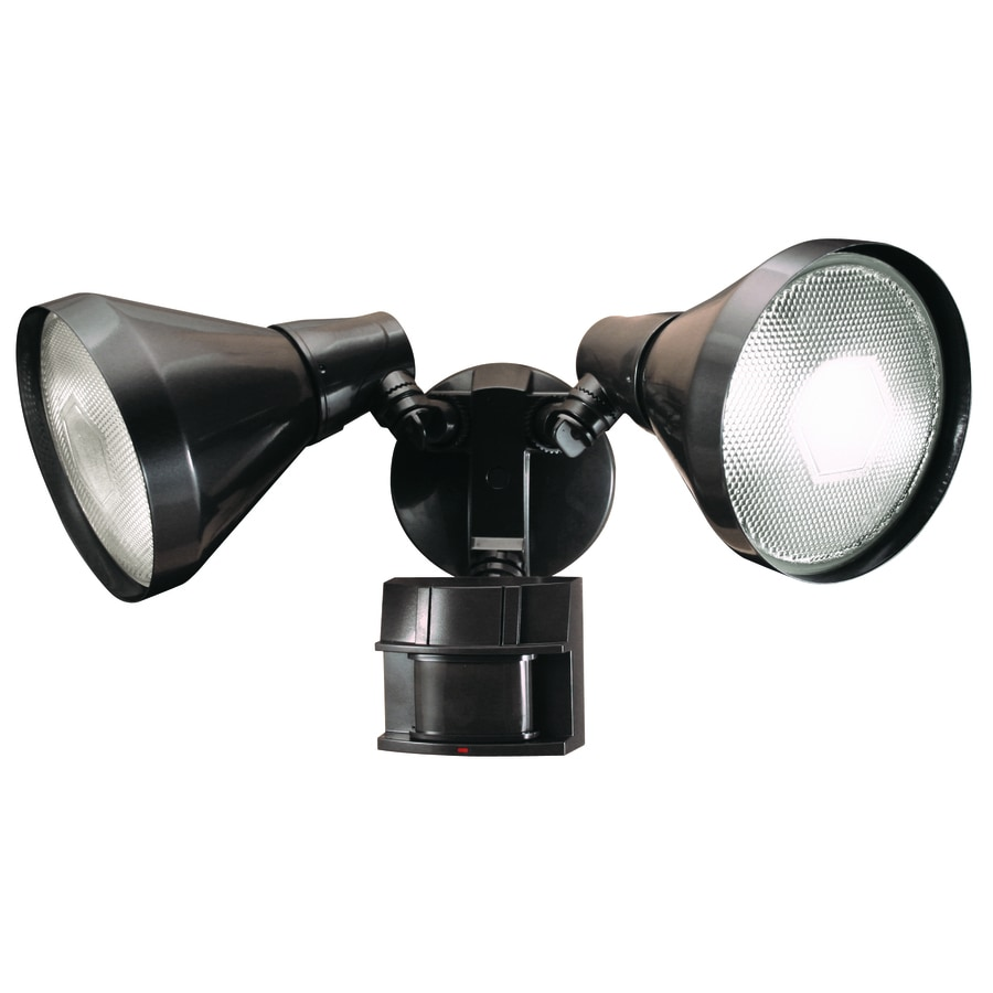Secure Home 180-Degree 2-Head Bronze Halogen Motion-Activated Flood Light with Timer