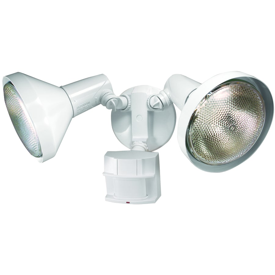Secure Home 180-Degree 2-Head White Halogen Motion-Activated Flood Light with Timer