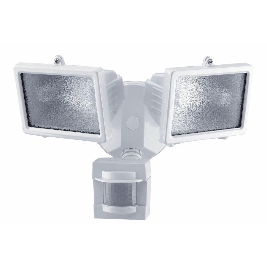 Heath Zenith 110-Degree 2-Head White Halogen Motion-Activated Flood Light with Timer