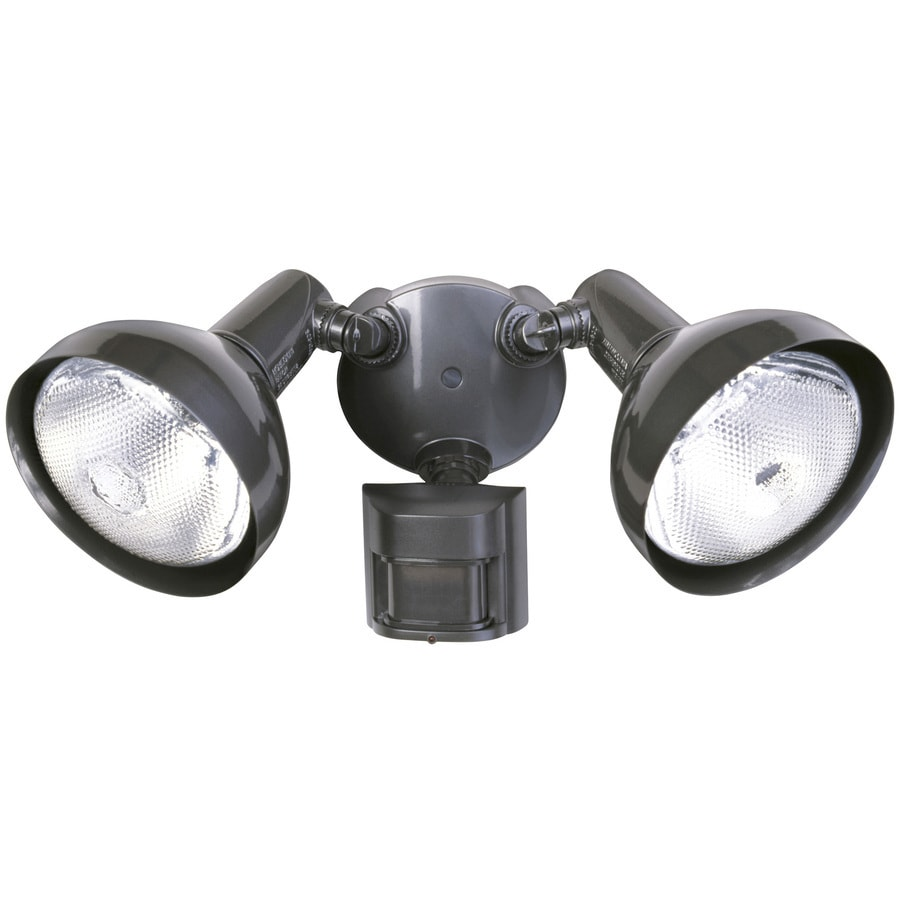 Utilitech 180-Degree 2-Head Black Halogen Motion-Activated Flood Light Timer Included