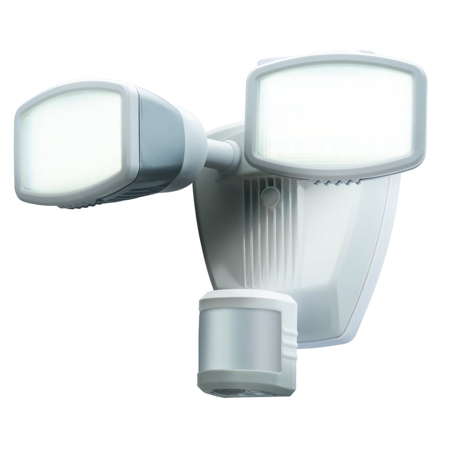 Secure Home 240-Degree 2-Head Dual Detection Zone White LED Motion-Activated Flood Light with Timer