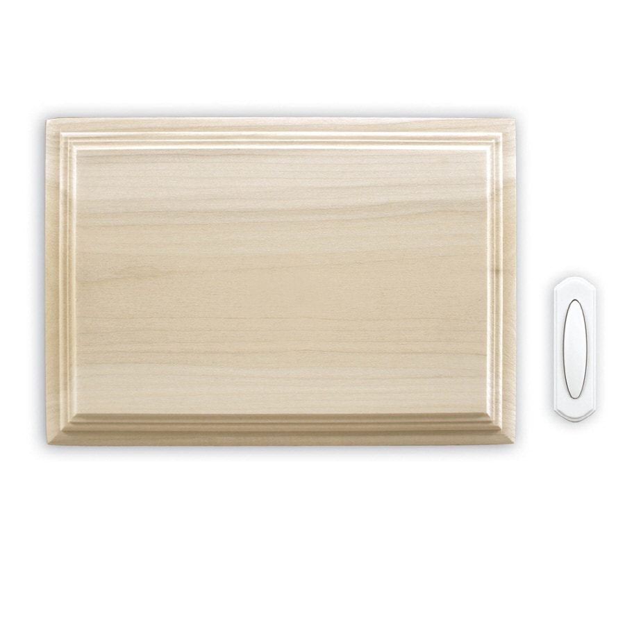 Heath Zenith Wireless Door Chime Kit with an Unfinished Poplar Cover and Pushbutton