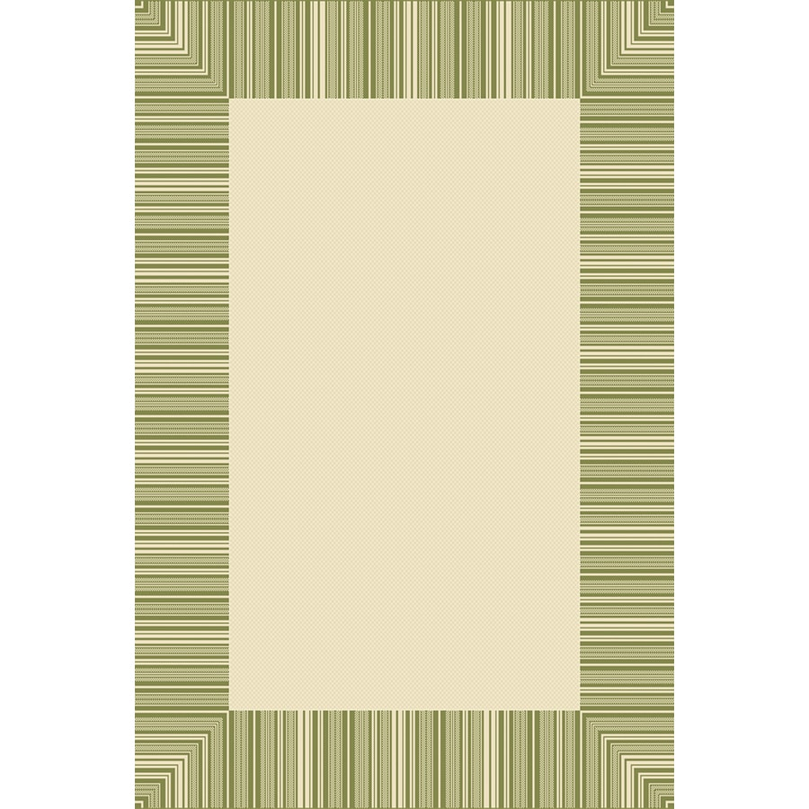 6-ft 3-in x 9-ft 6-in Rectangular Green Border Indoor/Outdoor Area Rug