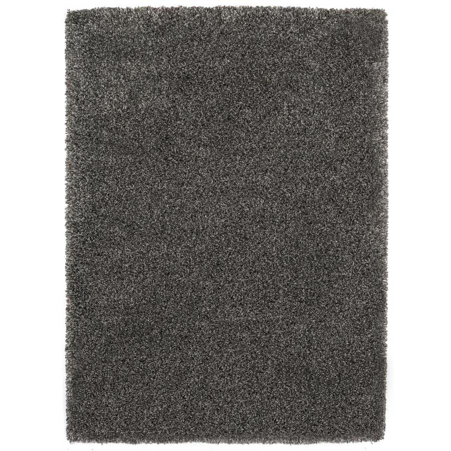 Balta Luxury Shag 63-in x 87-in Rectangular Gray/Silver Solid Area Rug
