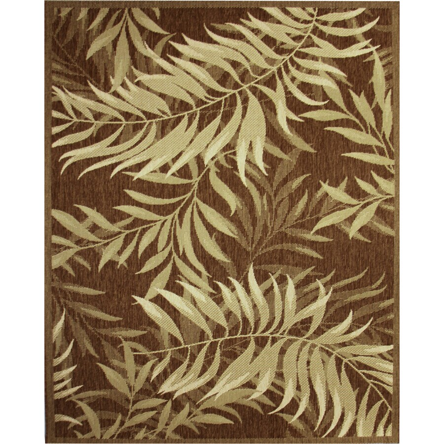 Palm Leaf Havanah Rectangular Indoor/Outdoor Machine-Made Nature Area Rug (Common: 8 x 10; Actual: 94-in W x 120-in L)
