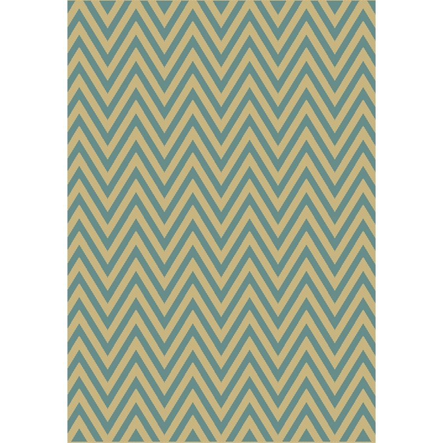 Balta Kesswood Blue Chevron Sand and Oasis Blue Rectangular Indoor/Outdoor Machine-Made Area Rug (Common: 6 x 9; Actual: 78-in W x 114-in L)