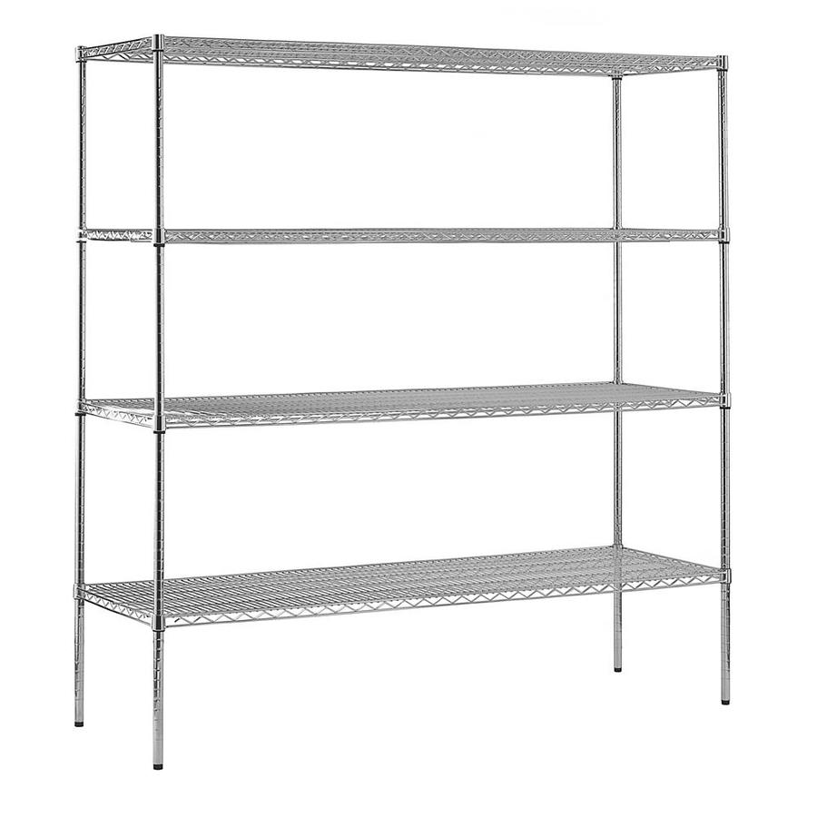 edsal 74-in H x 72-in W x 18-in D 4-Tier Wire Freestanding Shelving Unit