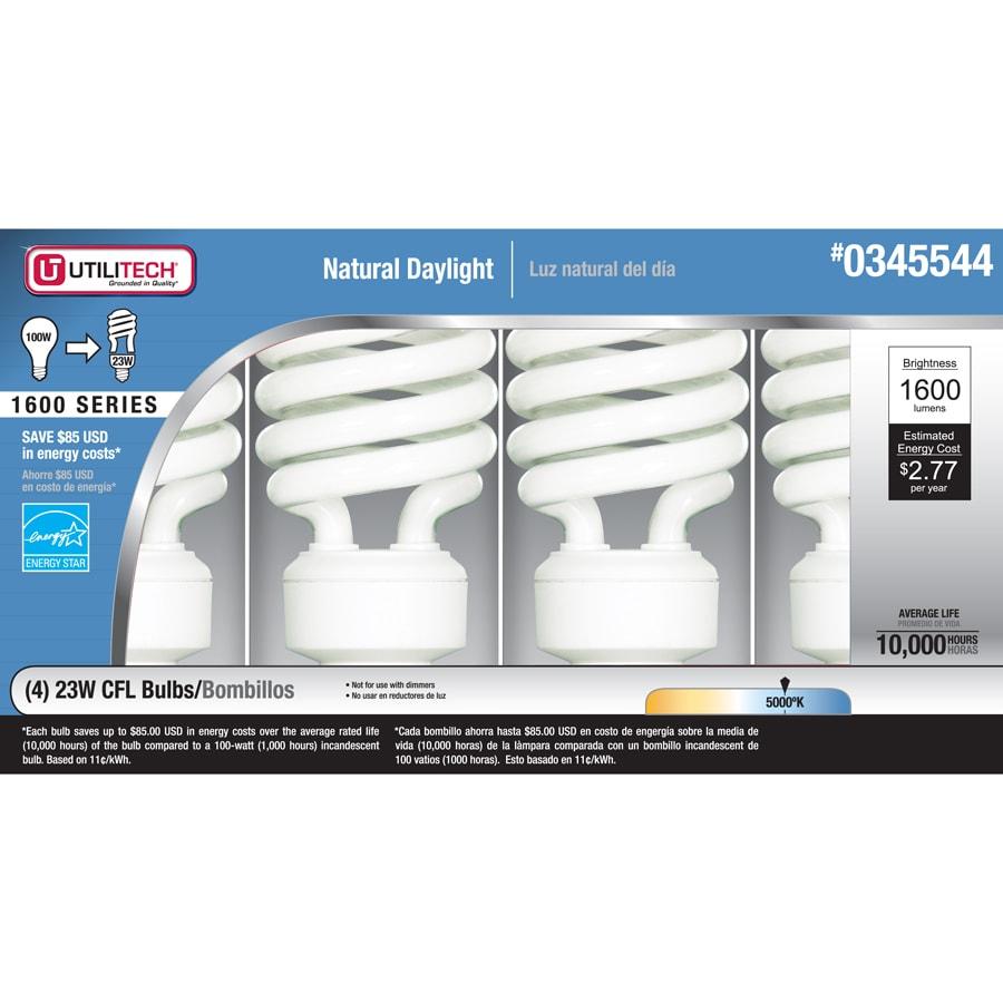 Utilitech 4-Pack 23-Watt (100W) Spiral Medium Base Daylight (5000K) CFL Bulbs ENERGY STAR