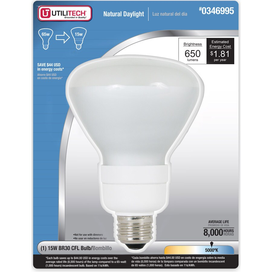 Utilitech 15-Watt (65W) BR30 Medium Base Daylight (5000K) CFL Bulb