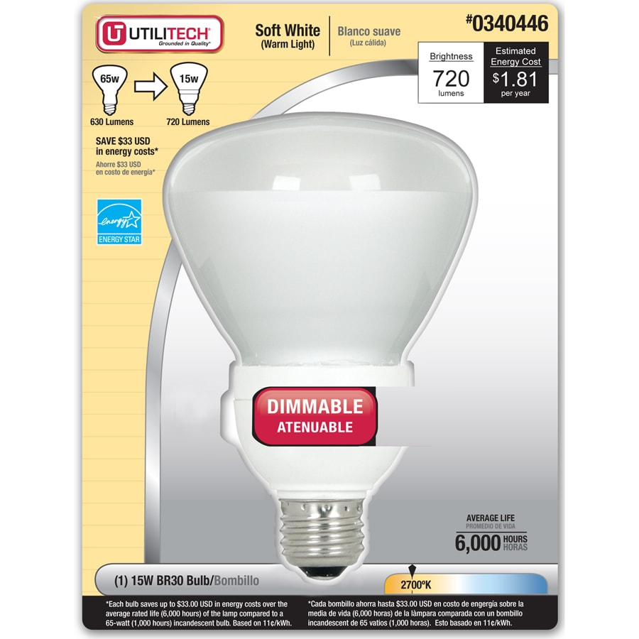 Utilitech 15-Watt (65W Equivalent) 2,700K BR30 Soft White Dimmable CFL Bulb
