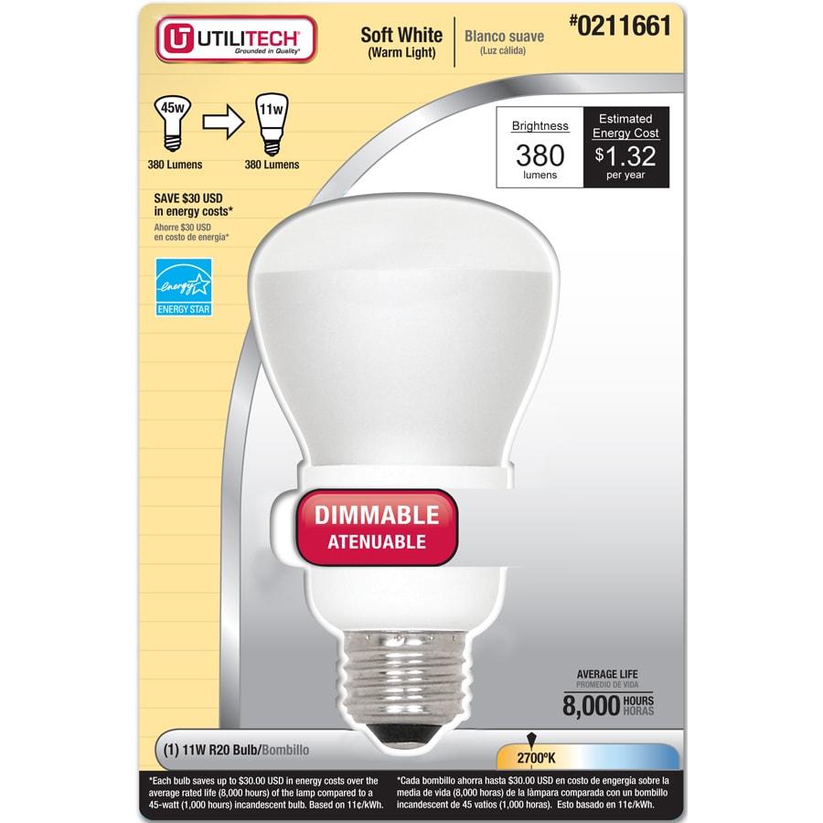 Utilitech 11-Watt (45W) R20 Medium Base Soft White (2700K) CFL Bulb ENERGY STAR