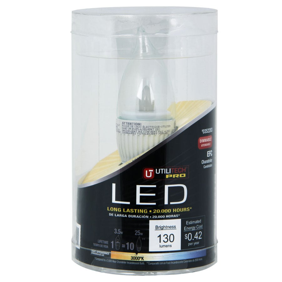 Utilitech 3.5-Watt (25W Equivalent) 3,000K Soft White Dimmable Decorative LED Light Bulb