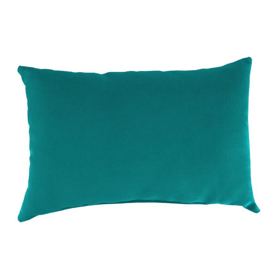 Sunbrella 2-Pack Dupione Deep Sea Solid Rectangular Outdoor Decorative Pillow