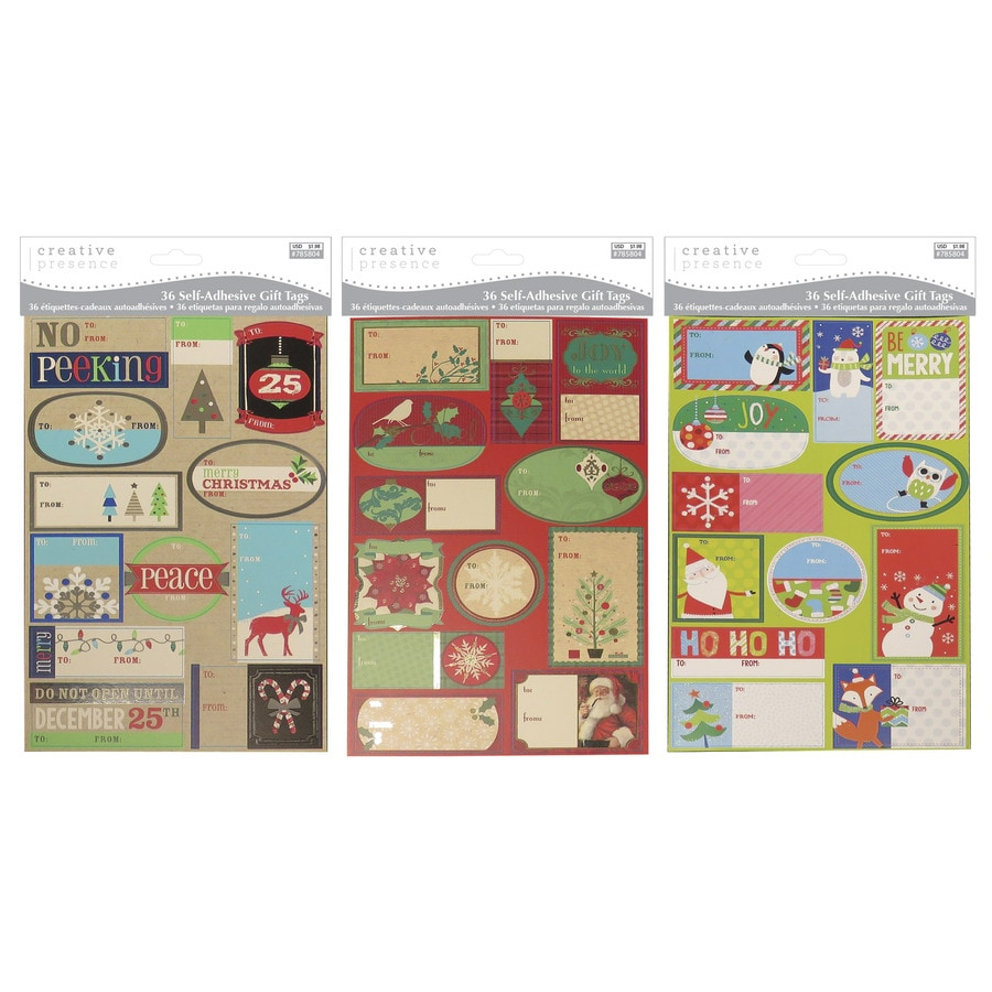 Creative Presence 36-Pack Assorted Christmas Peel and Stick Gift Tags
