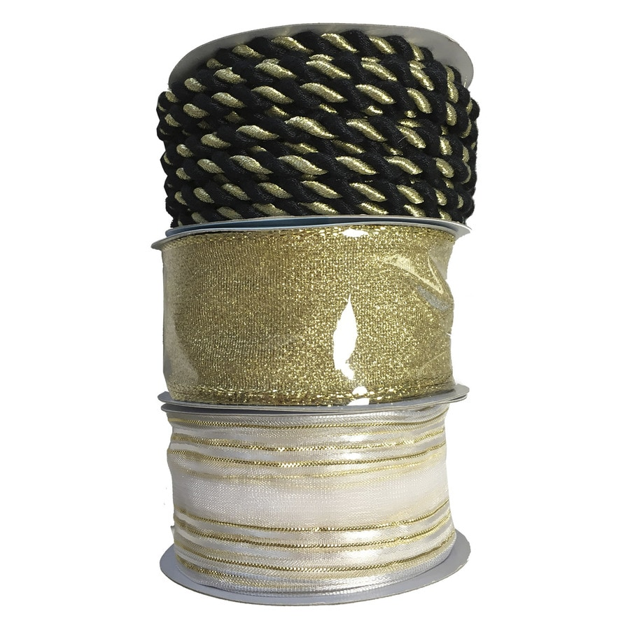 allen + roth 1.5-in W x 9-ft L Black and Gold Solid Ribbon