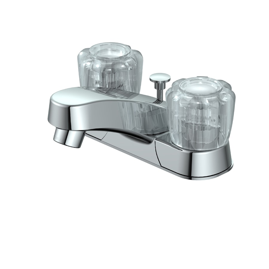Project Source Chrome 2-Handle 4-in Centerset WaterSense Bathroom Faucet (Drain Included)