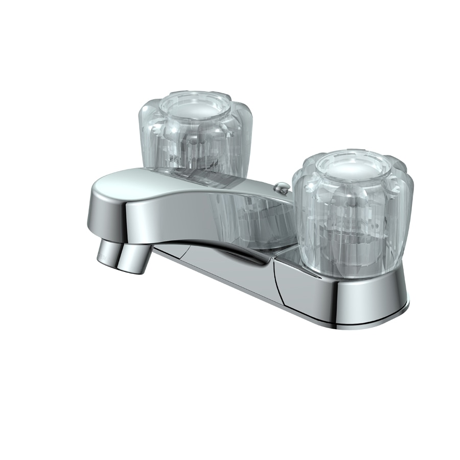 Project Source Chrome 2-Handle 4-in Centerset WaterSense Bathroom Faucet