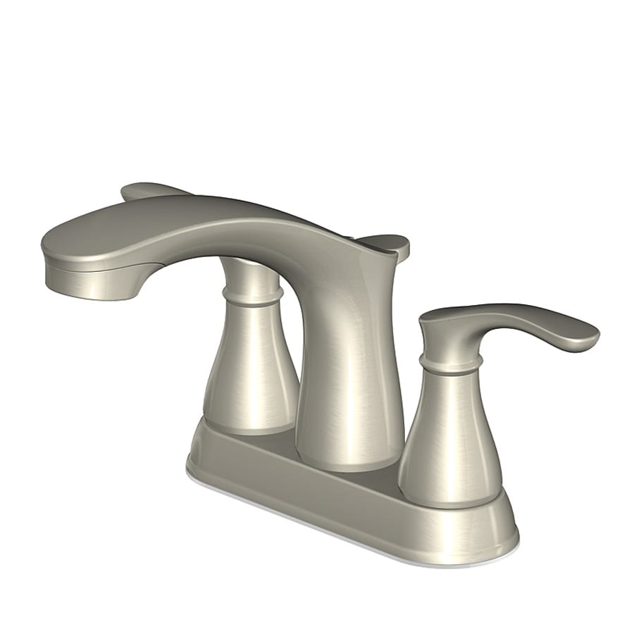 AquaSource Garner Brushed Nickel 2-Handle 4-in Centerset WaterSense Bathroom Faucet (Drain Included)