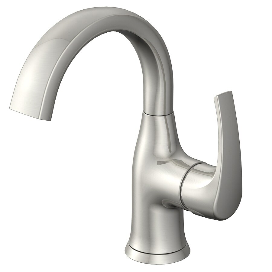 Jacuzzi Lyndsay Brushed Nickel 1-Handle Single Hole WaterSense Bathroom Faucet (Drain Included)
