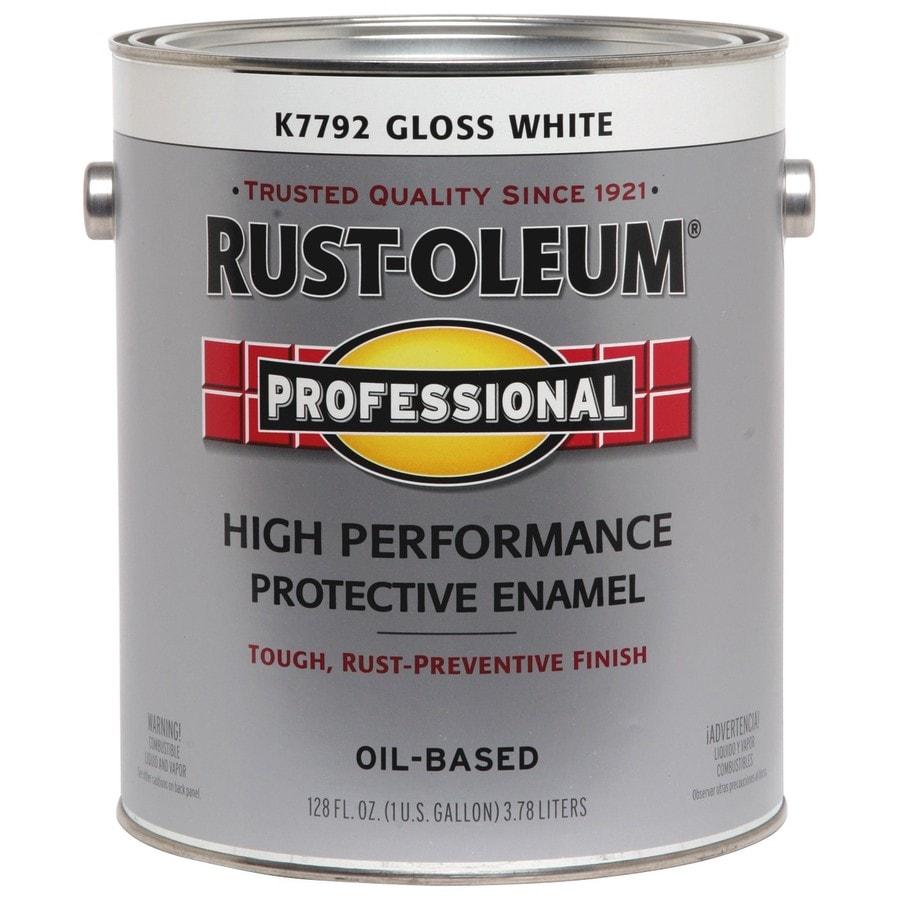 Rust-Oleum Professional White/Gloss Gloss Oil-Based Enamel Interior/Exterior Paint (Actual Net Contents: 128 Fluid Oz.)