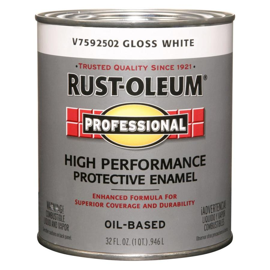 Shop Rust Oleum Professional White Gloss Enamel Interior Exterior Paint Actual Net Contents 32