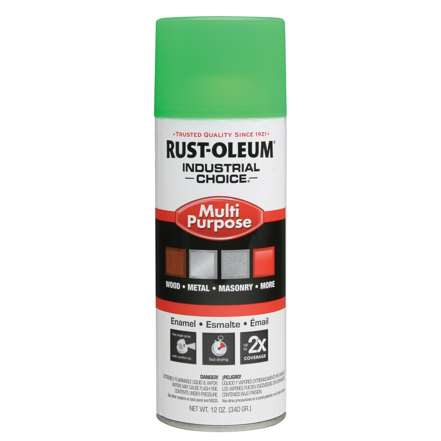 Rust-Oleum Multi-Purpose Industrial Choice Fluorescent Green Fluorescent Fade Resistant Enamel Spray Paint (Actual Net Contents: 12-oz)