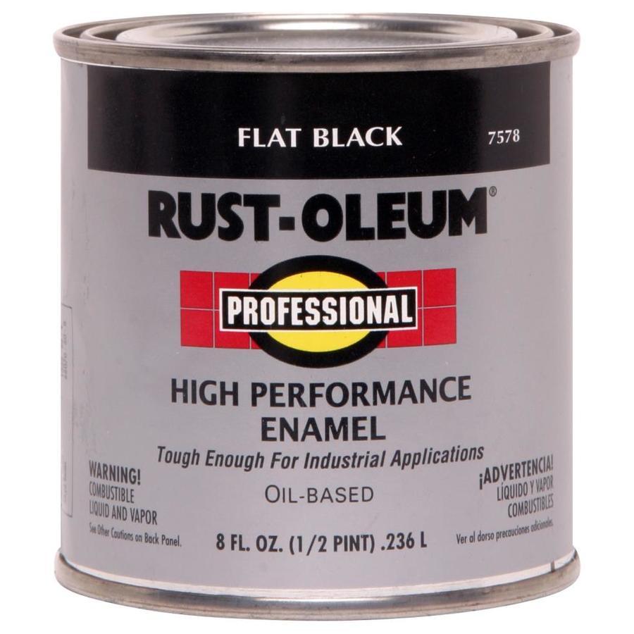 Rust-Oleum Professional Black/Flat Enamel Interior/Exterior Paint (Actual Net Contents: 8-fl oz)
