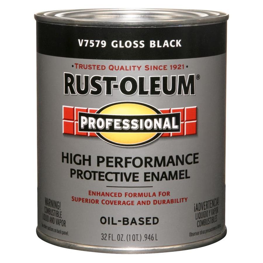Shop rust oleum professional black gloss enamel interior exterior paint actual net contents 32 for Rustoleum exterior concrete paint