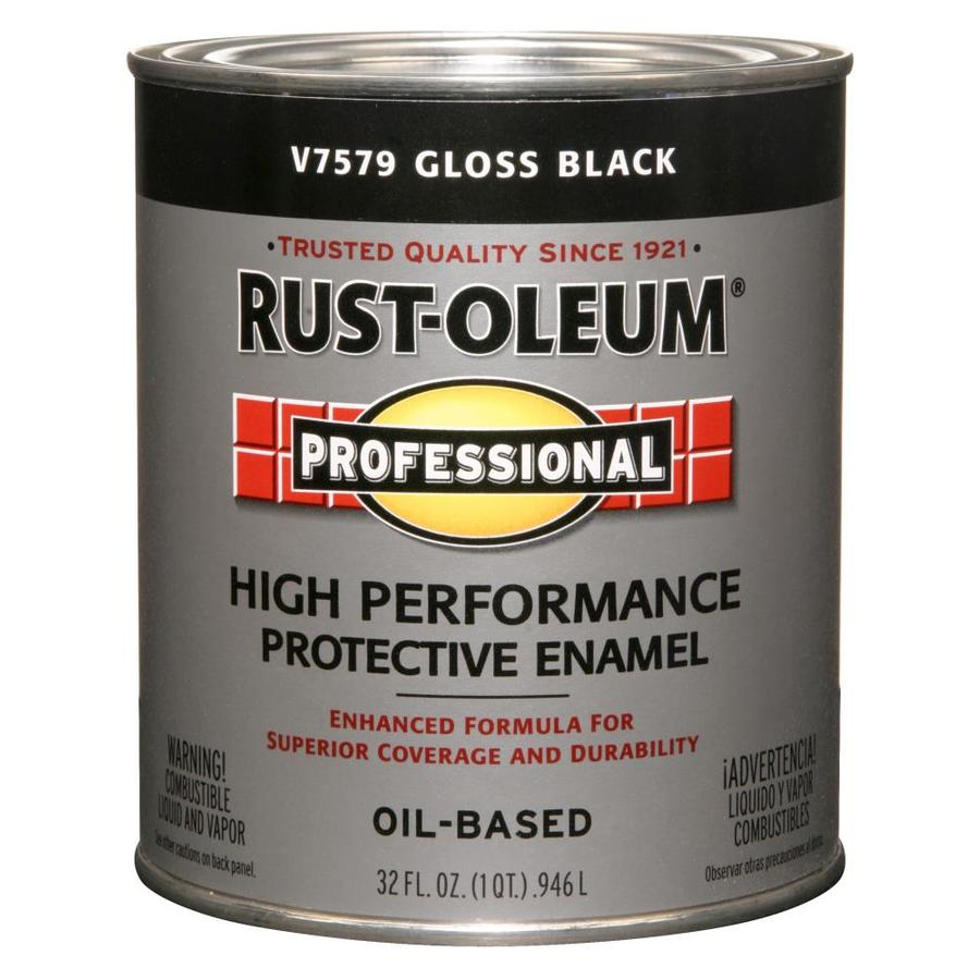 Shop Rust Oleum Professional Black Gloss Enamel Interior Exterior Paint Actual Net Contents 32