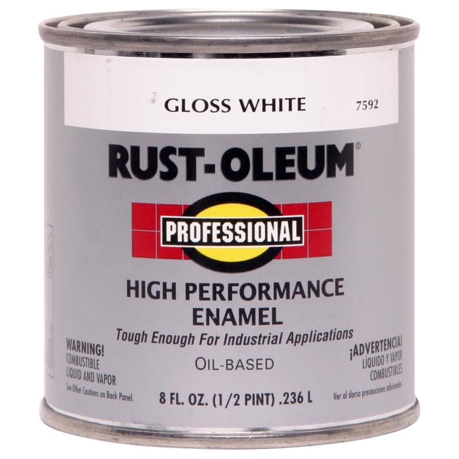 Shop rust oleum professional white gloss enamel interior exterior paint actual net contents 8 for Rustoleum exterior metal paint
