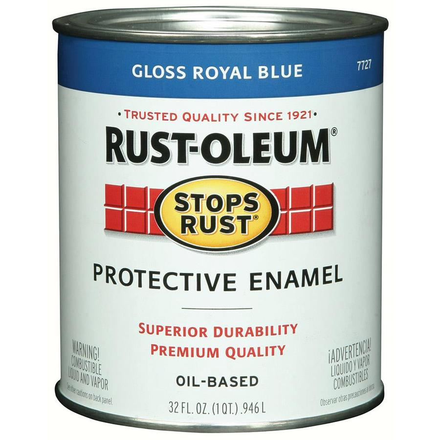Shop Rust Oleum Stops Rust Royal Blue Gloss Oil Based Enamel Interior Exterior Paint Actual Net