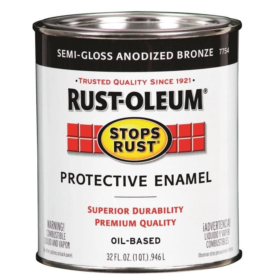 Shop rust oleum alkyd enamel stops rust anodized bronze gloss oil based enamel interior exterior for Rustoleum exterior metal paint