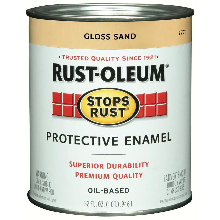 Shop Rust Oleum Stops Rust Sand Gloss Oil Based Enamel Interior Exterior Paint Actual Net