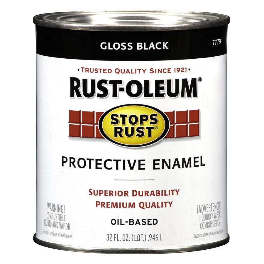 Shop Rust Oleum Stops Rust Black Gloss Oil Based Enamel Interior Exterior Paint Actual Net