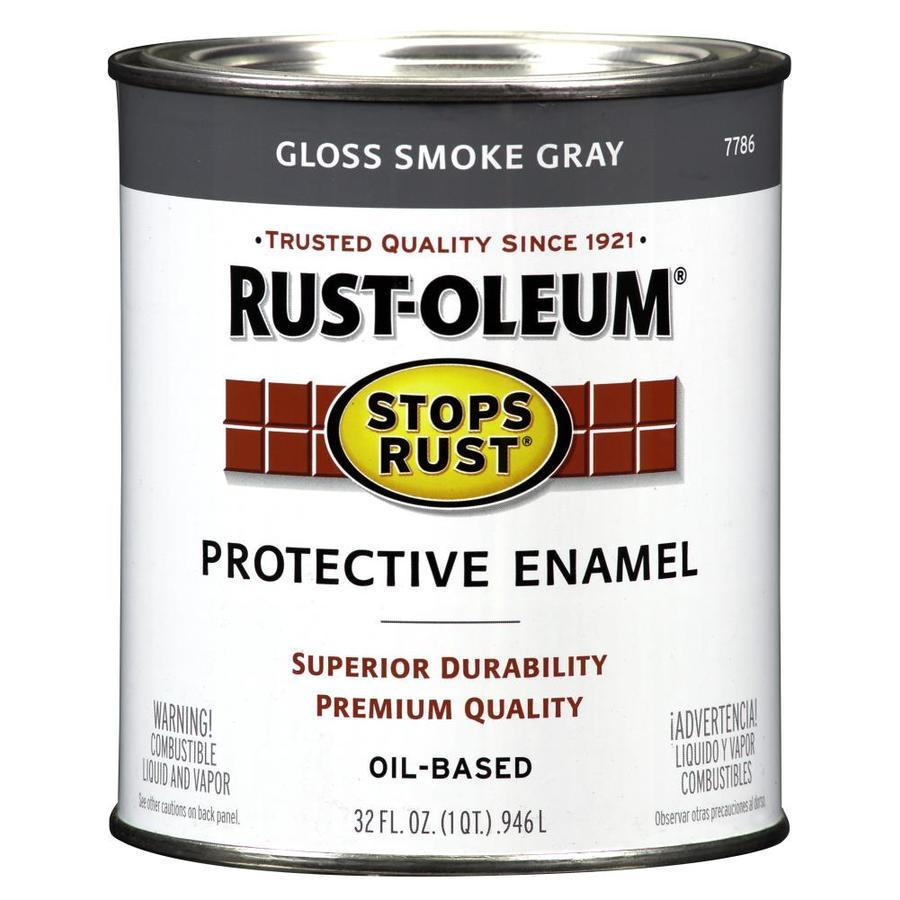 Rust-Oleum Stops Rust Smoke Gray Gloss Oil-Based Enamel Interior/Exterior Paint (Actual Net Contents: 32-fl oz)